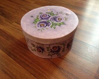 Purple Roses Round Floral Gift Box - Hand painted - ONE OF A KIND - keepsake box