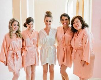 Bridesmaid Robes, CORAL, wedding robes, bridesmaid silk robe, dressing gown, personalized silk robe, kimono robes, floral robe, bridal robe