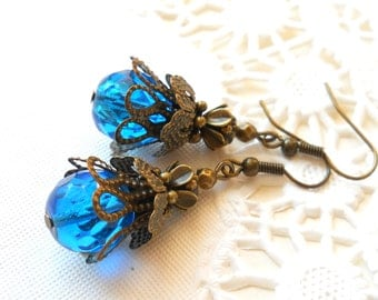 victorian dangle earrings sea blue filigree earrings petrol boho earrings blue and brass earrings vintage style earrings blue earrings