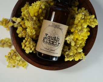 Youth Elixir Healing Moisturizer and Serum for Dry and Aging Skin - Helichrysum and Rose
