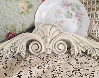 White wood Pediment~Chippy, Shabby , Cittage Chic Embellishment