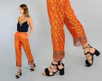 90's Metallic Floral FRINGE Pants