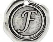 """Add On Initial """"F"""" Charm, personalized letter charm, monogram, Personalized Keychain, Personalized Necklace, antiqued silver plated charm"""