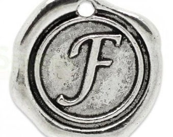 "Add On Initial ""F"" Charm, personalized letter charm, monogram, Personalized Keychain, Personalized Necklace, antiqued silver plated charm"