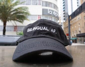 Bilingual af Black Baseball Hat / Dad Hat / Embroidered Baseball Cap / Unconstructed / Designed by GAG THREADS