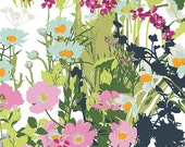 Pink Green Blue Floral Cotton Fabric Lavish Mother's Garden Light by Art Gallery, 1 yard