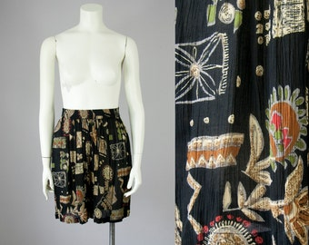 1980s Vintage Crinkled Rayon High Rise Long Flowing Printed Black Shorts. Deadstock (S, M)