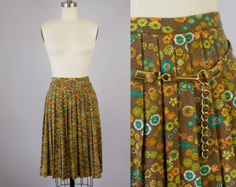 """1970s Vintage Knit Floral Print Pleated Skirt with Matching Chain Belt (M; 27"""" Waist)"""