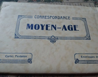 Superb pack antique French writing paper and envelopes unused Moyen Age  ATTIC FIND c1920  Belle Brocante