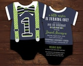 10 Bow tie First Birthday Invitations, Navy and Green Suspenders invitation, Onesie Die Cut, Little Mister birthday, gentleman, any color