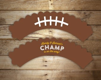 12 Football Cupcake Wrappers - All Star cupcake wraps, Tailgate Baby Shower Decoration, Party Decor, Any color
