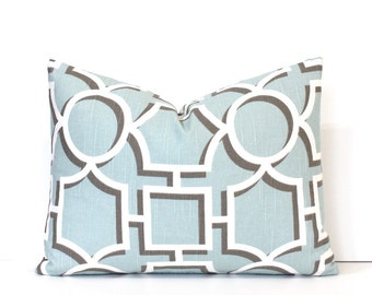 Aqua Lattice Decorative Designer Lumbar Pillow Cover Accent Throw Cushion modern geometric shapes light robins egg blue ivory powder taupe