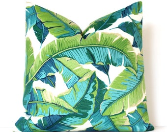Tropical Teal and Green Designer Pillow Cover Accent Cushion modern resort leaves banana beverly hills botanical palms frond palm tan lime