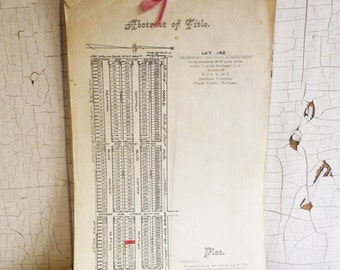 Vintage Abstract of Title Legal Document from 1923 - Dearborn Heights, Michigan - Paper Ephemera - Scrapbooking
