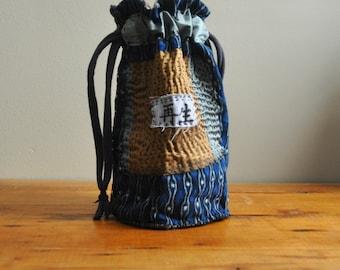 Upcycled Kimono Bag/Japanese Boro Kasuri/ Potli Style Handbag