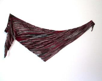 Red, gray and black triangular shawl