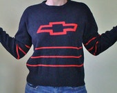 Vintage Chevy Sweater - Auto Memorabilia - Black and Red