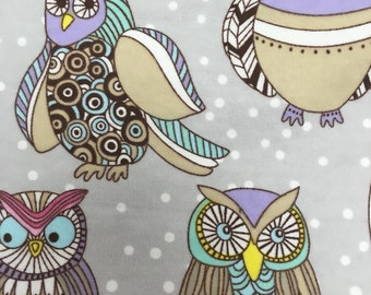 Winter Owls  - Flannel Fabric - BTY