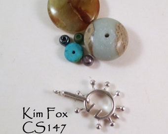 Round Steampunk Style Slot Clasp in Sterling Silver designed By Kim Fox
