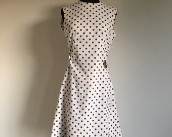 30% OFF Vintage 1960s 1970s White Brown Polka Dot Sleeveless Mod Dress S/M -l