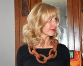 Felted Wool Link Necklace, Orange with Taupe