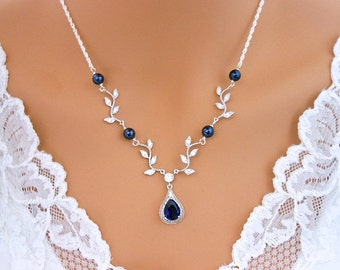 Navy BLUE Wedding Necklace VINE Necklace Sapphire Blue Y Bridal Jewelry White or Ivory PEARLS Sterling Silver