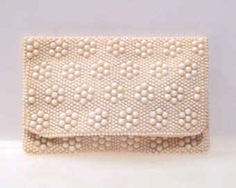 Flower Pattern Beaded Clutch Vintage Mr Jonas Cream Candy Dot Beads Purse 60s 1970s Floral All Over Design Hong Kong Pouch Bag  FREE US SHIP