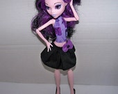 Handmade Monster High doll clothes - black skirt with purple bow embellishment - Clearance