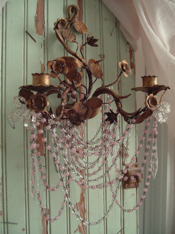 Vintage Italian Wall Sconce Pink Opaline Macaroni Beaded Chain