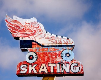 Roller Skating Neon Sign Print | Route 66 Retro Wall Art