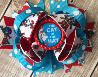 NEW ITEM Boutique Baby Girls Layered Cat in the Hat Hair Bow Clip, Dr. Seuss Hair Bow, Cat in the Hat Clip, Cat in the Hat Hair bow