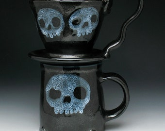 Skull Coffee Pour Over Filter Set, Morning Zombie Skulls Pour Over Coffee Maker and Mug Set