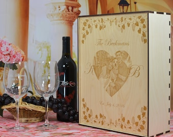 Wood Wine Gift Box Set with 2 Custom Etched Wine Glasses Personalized by You