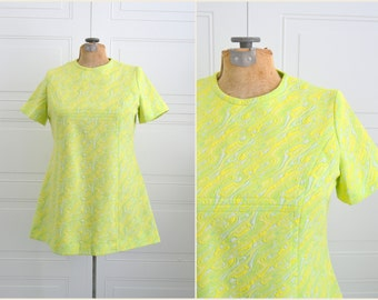 1960s Yellow and Green Tunic Top