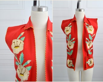1950s Red Wool Mexican Embroidered Vest