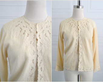 1950s Cashmere Cutwork and Beaded Cream Cardigan Sweater