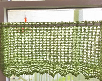 sale, crochet curtain/window treatment/valance in gree acrylic