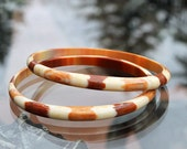 Pair of Striped Lucite Spacer Bangles - Best Plastics New Old Stock