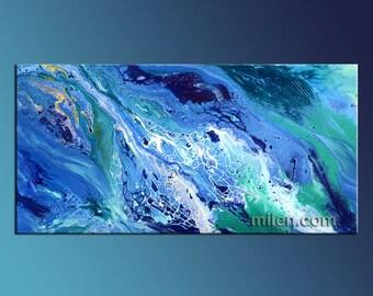 Fluid Painting huge abstract, blue, teal, turkoise, aqua unique Liquid fluid pouring paint unique  Modern design art  by Milen