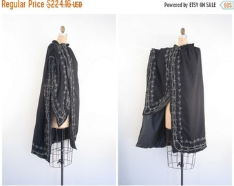 SALE / rare antique pre - 1920s sword cloak - Edwardian cape / The M.C. Lilley & Co. - black wool / Victorian gothic  - embroidered ritual c