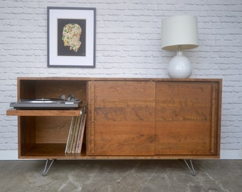 Newbery Cabinet with Record Player Pull-Out Shelf - Solid Cherry - Teak Finish