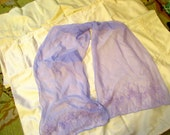 Lilac Lassie: Vintage 100 Per Cent SILK, LILAC Chiffon SCARF w/Stunning Floral Embroidery at Bottom