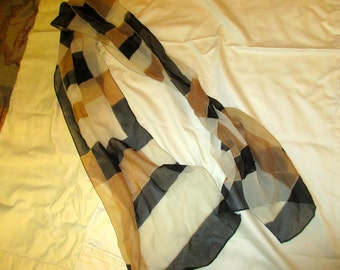 Exceptional Vintage Scarf: 100 Per Cent SILK Chiffon Scarf w/Glorious Cream, Gold & Chocolate Brown Geometric Pattern - MINT CONDITION
