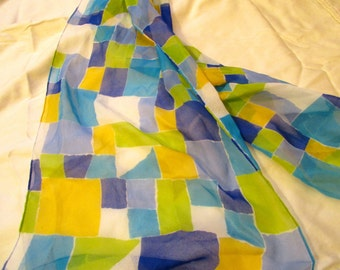 Excellent Vintage 100 Per Cent SILK Chiffon SCARF w/Geometric Pattern - Long, Rectangular - MINT Condition