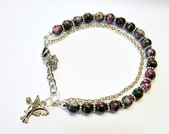 Chain Agate Adjustable Bracelet With Humming Bird Charm