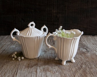 Vintage White Ceramic Sugar Bowl and Creamer