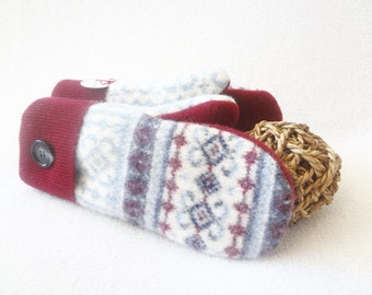 Wool Mittens CRANBERRY RED & BLUE Nordic / Fair Isle Sweater Wool Mittens, Felted Sweater Wool Fleece Lined Mitens by WormeWoole