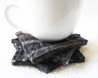 Felted Wool Coasters / Recycled Mug Rugs / PURPLE & NAVY with GRAY Fair Isle Sweater Felt Coasters / Eco Housewarming Gift by WormeWoole