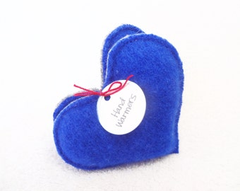 Heart Hand Warmers Blue Hearts Felted Sweater Wool Handwarmers Teacher Coworker Eco Gift Stocking Stuffer by WormeWoole