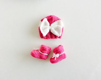 Booties and Hat set, knitted baby hat, crochet booties, Hot Pink/White, Big Bow hat and booties set, custom sizes, made to order